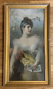 Beautiful Rare Antique Victorian Lady Woman Birds Gold Gilt Framed 12.5 x 22.5""