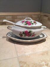 VTG Royal Crown Sugar Bowl Tureen Hand painted ARNART marked 55/1446 PRETTY!