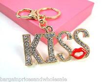 Large KISS LIP Keyring Sparkling Rhinestone Diamante Handbag Buckle Charm