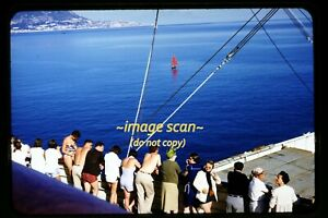 People on SS Independence Passenger Ship at Spain in 1950's, Original Slide e18a