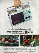L- Publicité Advertising 1965 Magnetophone portatif EL 3586 Philips