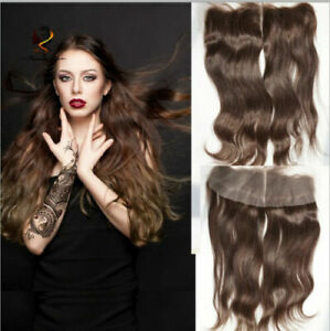 TIMMALC HAIR BRAZILIAN LACE FRONTALS 13X4 EAR TO EAR 2# DARK BROWN STRAIGHT 12A