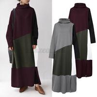 ZANZEA Damen Rollkragen Langarm Pullikleid Farbblock Sweatshirt Lang Kleid Dress