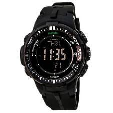 Casio PRW3000-1A Men's Protrek Triple Sensor Black Dial Black Resin Strap Watch
