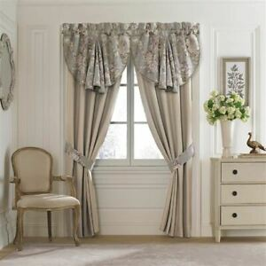 CROSCILL VICTORIA Curtain Pole Top Pair & Tiebacks IVORY TAUPE GREY 82 X 84 NEW