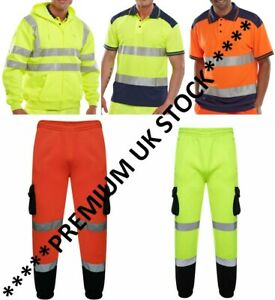Hi Viz Vis High Visibility Zipper Jog Bottom Pants Polo Shirt Hoody S - 3XL