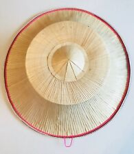Thai Asian Farmer Hat Palm Leaves & Bamboo Frame Flat Top Straw Oriental Pink