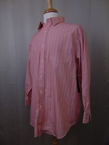 Ralph Lauren Non-Iron Button Down Stripe Print Shirt 17.5 32/33 Orange #2727