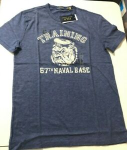 Ralph Lauren Polo 67th Naval Base Training Bulldog SS T-Shirt Blue Men's sz XL