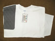 XL RH Charcoal Fabric Covered Trap Pad WHITE Ultra Cotton Shooting T-Shirt
