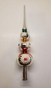 Vintage German Triple Mercury Glass Triple Indent Tree Topper - 14 Inch