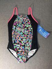 Speedo Kids Girls One Piece Swim Suit Pink Black 90s Print XS 5/6 NEW