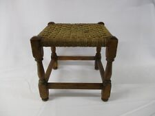 Foot Stool, Wood Frame, Woven Rope Top, Small, Vintage 1950's
