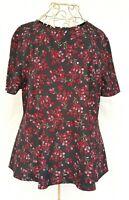 Basque Black Floral Print Red Short Sleeve Round Neck Zip Peplum Top Size 12P