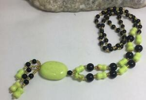 Hand made green/ripe Banana color gaspeite bead/black agate necklace (B112-w2)