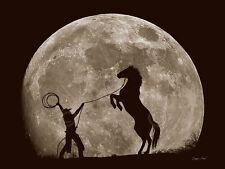 HORSE ART PRINT - Bad Moon Risin by Barry Hart Cowboy Ranch Western Poster 11x14