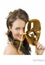 Masque neutre en plastique doré métal 003096doré carnaval costume deguisement