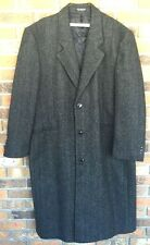 John Ashford 100% Wool Black Gray Tweed Men's Dress Coat Size 42