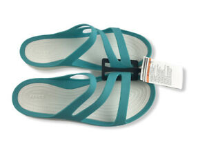 Crocs Womens Swiftwater Sandals White Teal Size 10   203998-4DY