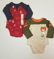 Garanimals Boys Infant 0-3 M *2 PACK* Red Animal + Tiger One Piece Bodysuit