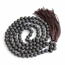 Black Volcano Stone Tibet Buddhist 108 Prayer Beads Mala Necklace--8mm New