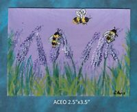 Original ACEO - Bees on Lavender - miniature acrylic painting, not framed