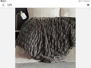 Kelly Hoppen Ruched  Faux Fur Throw, 127cm X 152cm CHARCOLE, BNIP
