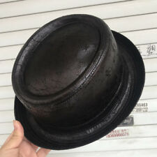 4Size S M L XL Men's Sheepskin Leather Porkpie Hat Dad Pork Pie Fedora Hats