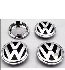 VW VOLKSWAGEN ALLOY WHEEL CHROME CENTER CAPS x4 65mm BADGE PASSAT POLO GOLF BORA