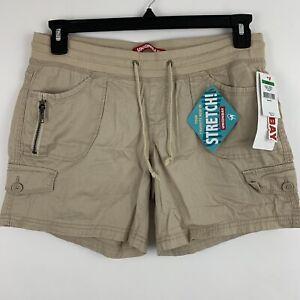 Unionbay Stretch Mid Rise Cargo Shorts Juniors Size Large Beige Drawstring NEW