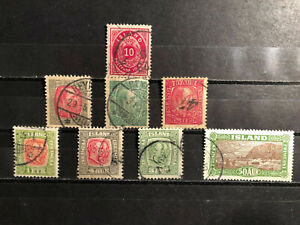 Iceland , 1875-1925, 8 old stamps, used