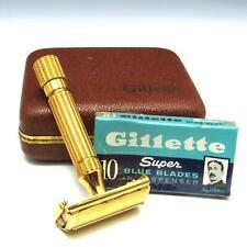 Gillette Aristocrat Gold Plated TTO Safety Razor w/ Case + NOS Super Blue Blades