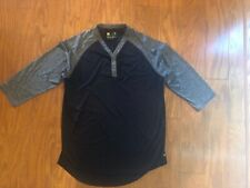 Xersion Men's Large Black Gray 3/4 Sleeve Athletic Shirt Top Athletic Henley