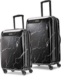 American Tourister Moonlight Hardside Expandable Luggage with Spinner Wheels, Bl