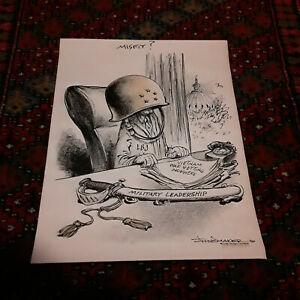 Original Poticial drawing by Vaughn Shoemaker . Vietnam . Listed Artist  RARE