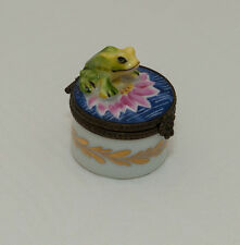 Frog Among Water Pink Lily Floral ROCHARD Blue Limoges Box
