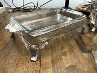Vintage Pyrex(?) Glass Casserole Dish w/ Silver Plated Chafing Holder, Claw Foot