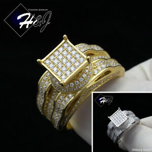 WOMEN 925 STERLING SILVER ICY DIAMOND GOLD/SILVER ENGAGEMENT RING*SR86