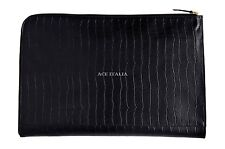 Deluxe New Black Croc Print Real Leather Under Arm Folder Document Holder Case