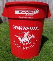 VTG Red 32 Gallon Winchester Firearms Ammunition Advertising Store Trash Can