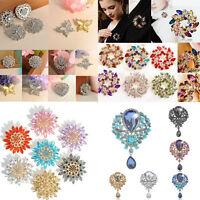 Women Fashion Rhinestone Crystal Flower Wedding Bridal Bouquet Brooch Pins Gifts