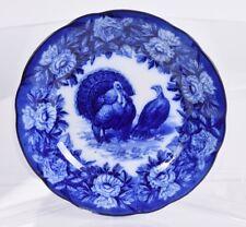 "Flow Blue Villeroy Boch Porcelain Tom Turkey and Hen 10"" Dinner Plate"