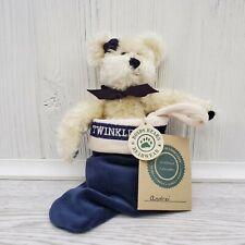 "Boyd's Bears Andrei Twinkle White Bear in Navy Stocking Plush 6"""