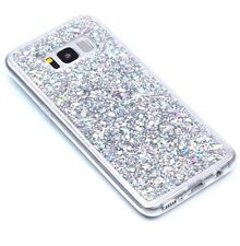 For Samsung Galaxy S8+ Plus - TPU RUBBER GUMMY CASE COVER SILVER GLITTER SEQUINS