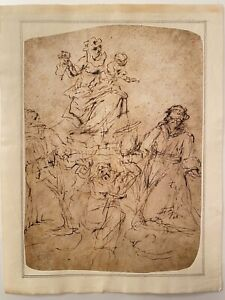 OLD MASTER DRAWING,INK ON HANDMADE PAPER LAID,ITALIAN SCHOOL,BLUE STAMP,NUMBERED
