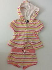 Juicy Couture Baby Girls Outfit, 6-9 Months Set, Shorts & Hoodie Pink White Vgc