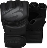 RDX Leather Boxing MMA Gloves Grappling Fighting Punch Bag Training F15MB Black