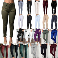 Women's Skinny Plain Slim Fit Leggings Ladies High Waist Pencil Pants Trousers