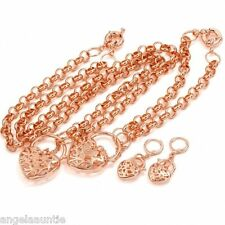 18K Rose Gold Filled Filigree Heart Necklace/Bracelet/Earrings Set (S-158E)