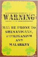 Irish Warning rustic TIN SIGN shenanigan bar pub metal wall decor funny gift OHW